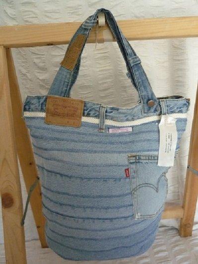 borsa jeans fatta a mano modello secchiello