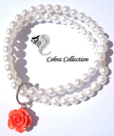 Bracciale in perle con rosellina - Perl orange