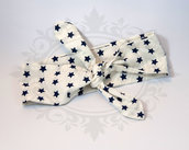 Rosie banana fascia capelli bianca stelle blu - rockabilly pin up rock'n'roll retro style bow 50s