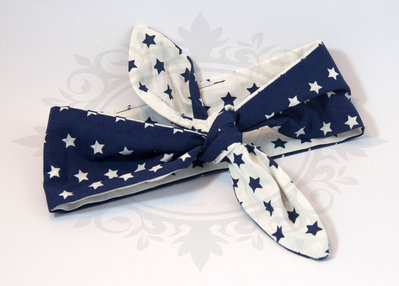 Rosie banana fascia capelli bianca stelle blu reversibile doppia- rockabilly pin up rock'n'roll retro style bow 50s