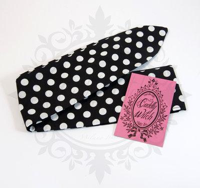 Rosie banana fascia capelli nera pois bianchi- rockabilly pin up rock'n'roll retro style bow 50s