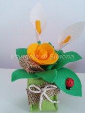 Vaso fiori in feltro e iuta