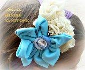 fascia per capelli con fiore in tessuto