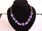Collana argento con perle e copri perle in fimo fatte a mano.