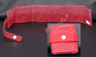 Porta bustine da the tisane, 6 bustine, fantasia pois rosso bianco