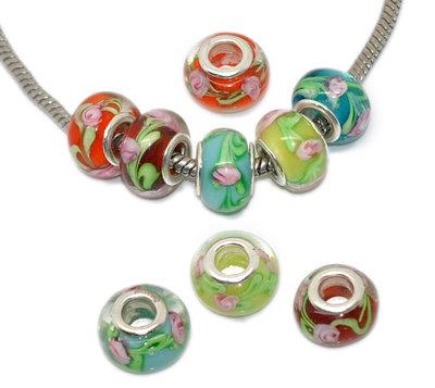 5 mix perle a foro largo con fiori  13x9 mm