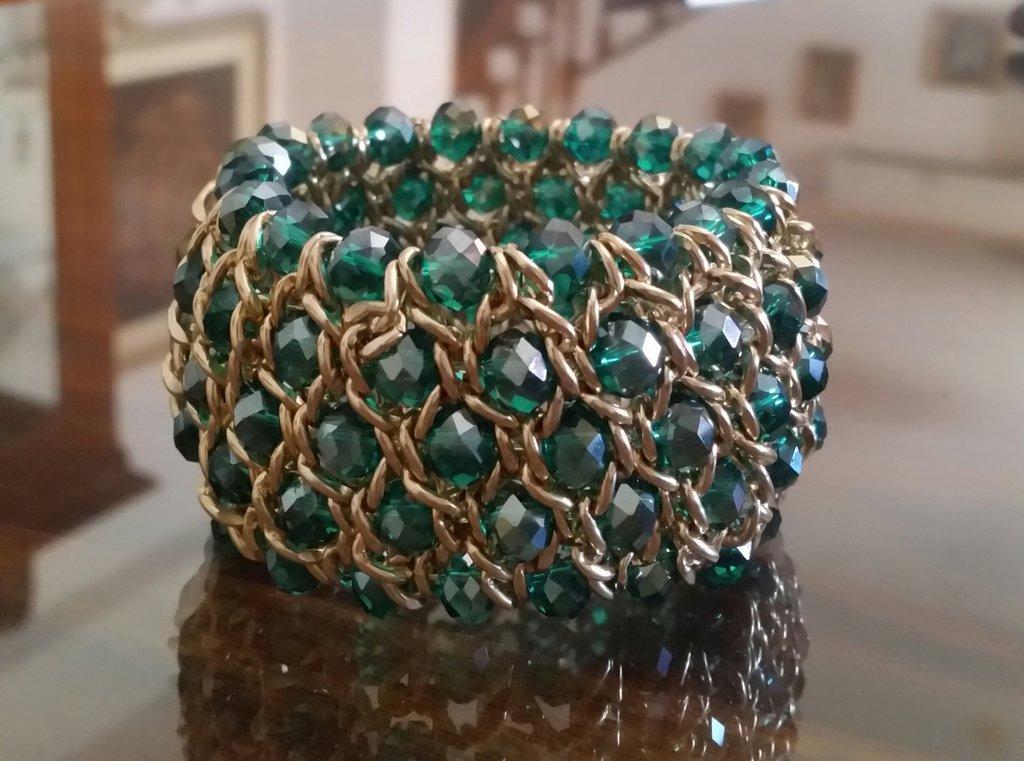 Bracciale con Cristalli Verde