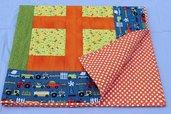 """Trapunta patchwork per bambini misura lettino cm 112X128 ,""""In Spagna s'è bagnata la campagna!""""."""