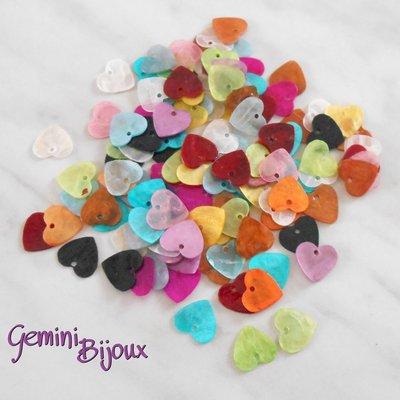 Lotto 10 zecchini pendenti cuore in madreperla 13x12 colori assortiti