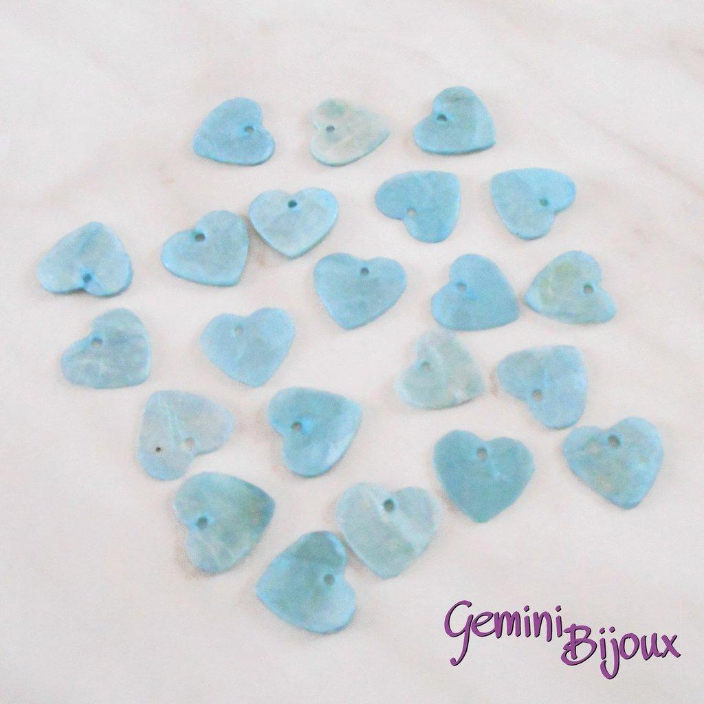 Lotto 10 zecchini pendenti cuore in madreperla 13x12 azzurro
