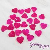 Lotto 10 zecchini pendenti cuore in madreperla 13x12 fuxia
