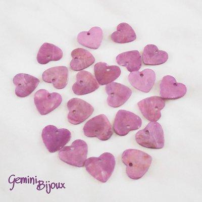 Lotto 10 zecchini pendenti cuore in madreperla 13x12 lilla
