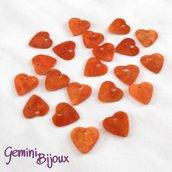 Lotto 10 zecchini pendenti cuore in madreperla 13x12 marroncino