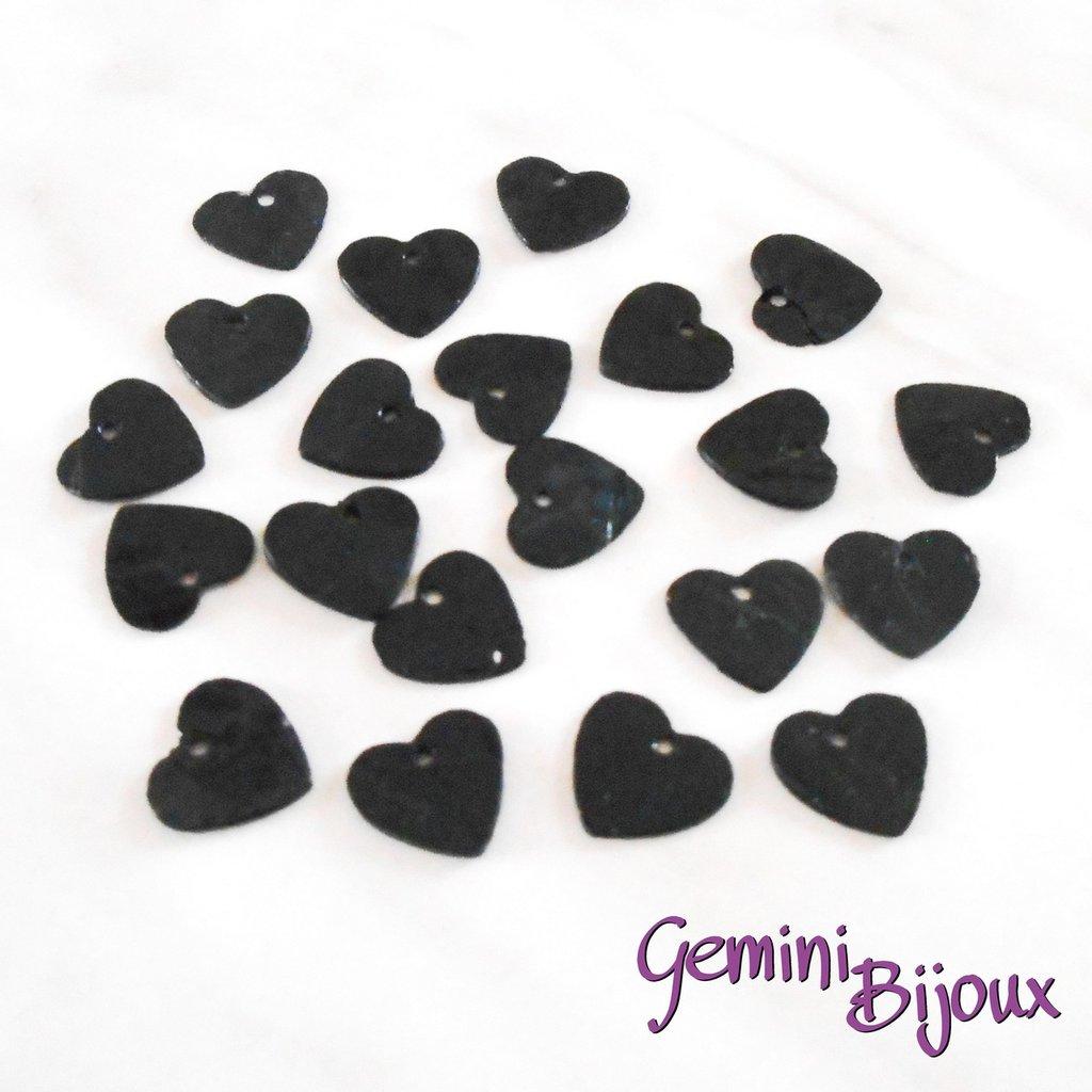 Lotto 10 zecchini pendenti cuore in madreperla 13x12 nero