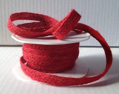 Fettuccia, nastro in lino rosso 6,40 mt