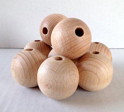 Sfere legno con foro passante, 3,5 cm