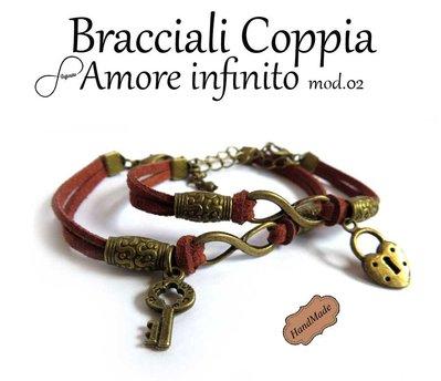 Coppia 2 Bracciali AMORE infinito uomo donna simbolo infinity charm chiave & Lucchetto braccialetto