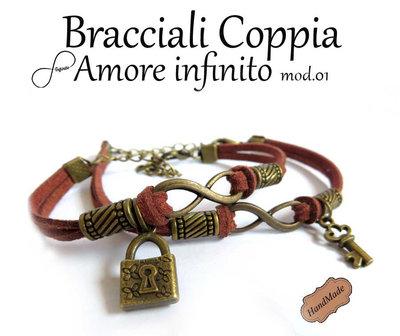 Bracciale AMORE infinito uomo donna simbolo infinity charm chiave braccialetto marrone