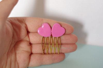 Cuoricini - Pettinino Capelli - Cuori Kawaii - Accessori capelli - Rosa -