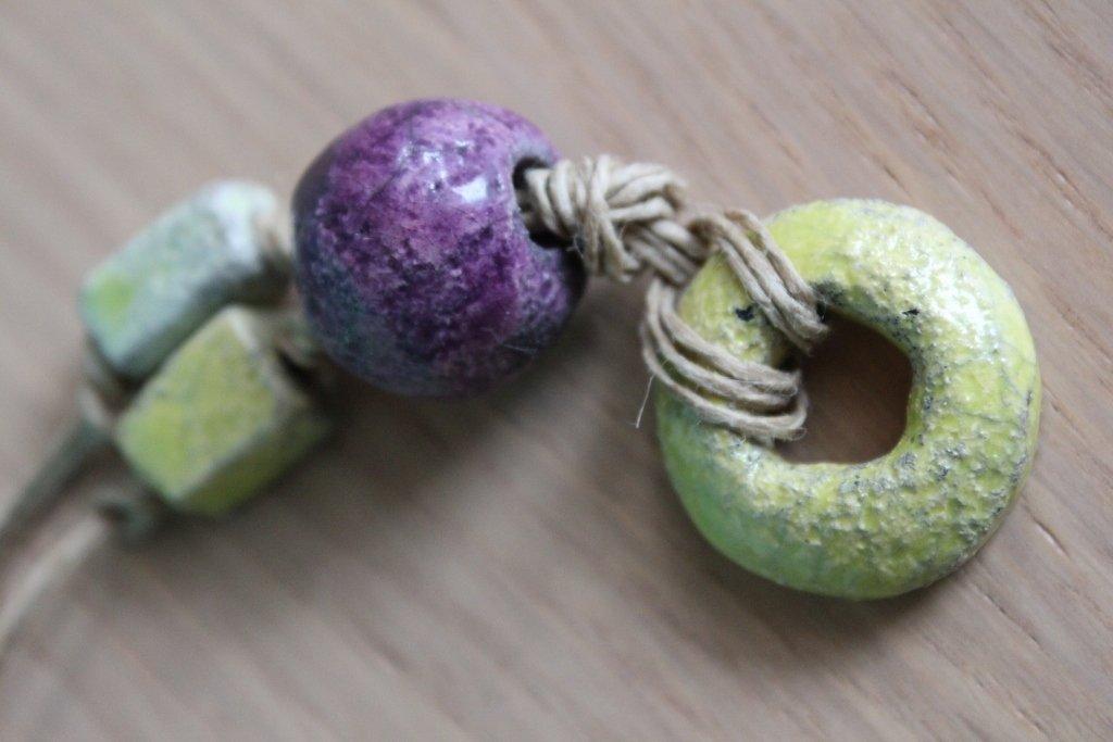 collana raku verde acido/viola
