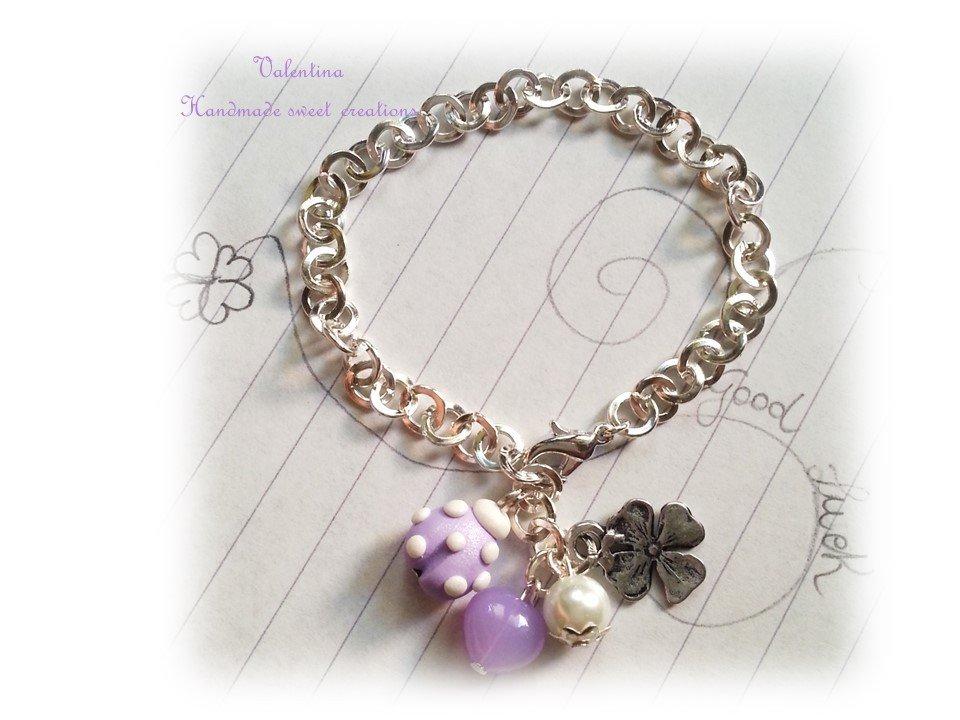 Bracciale coccinella fimo- bianco viola