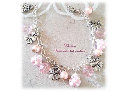 Bracciale coccinelle fimo- bianco rosa