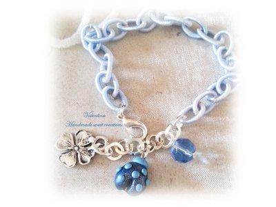 Bracciale coccinella fimo- blu
