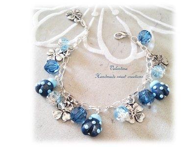 Bracciale coccinella fimo- blu notte