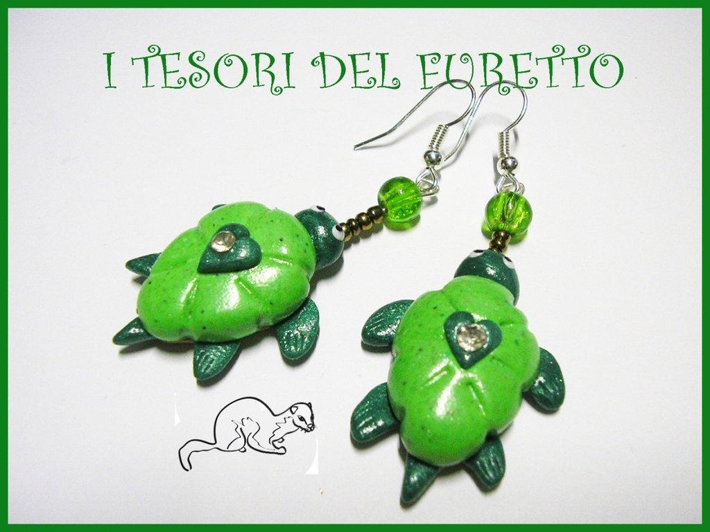 "Orecchini ""Tartaruga Verde"" fimo cernit estate kawaii 2014"