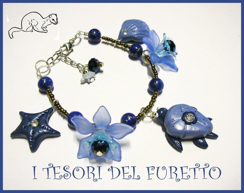 "Bracciale ""Tartaruga Blu/azzurro"" fimo cernit estate kawaii 2014"