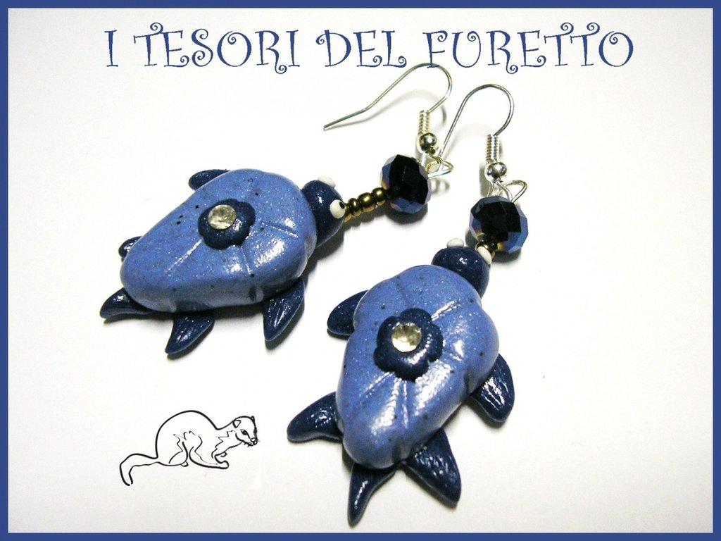 "Orecchini ""tartaruga Blu/azzurro"" fimo cernit kawaii estate 2014"