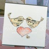 Partecipazione UCCELLINI disegnata a mano per matrimonio