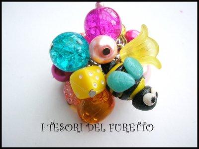 """Anello """"Ape"""" fimo cernit perle estate 2014 apina vespa vespina"""
