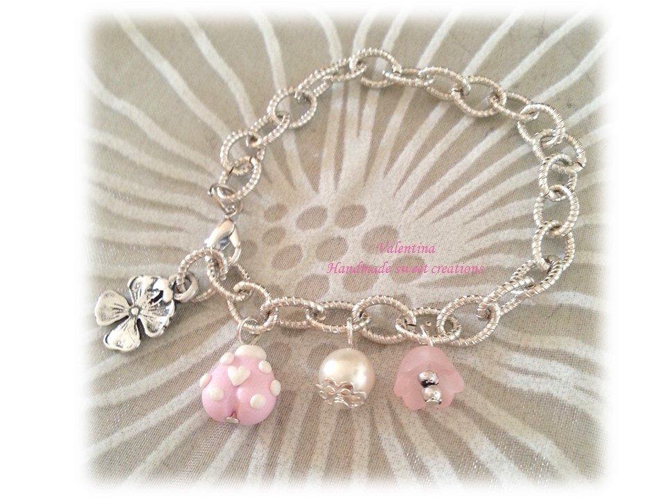 Bracciale coccinella fimo- bianco rosa
