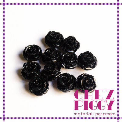 1 x perla a forma di rosa in resina - NERO