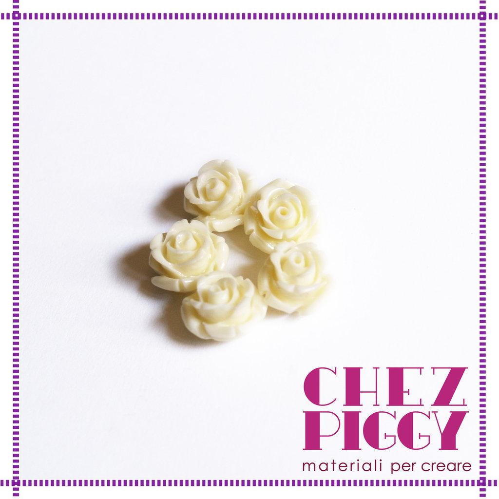 1 x perla a forma di rosa in resina - BIANCO PANNA