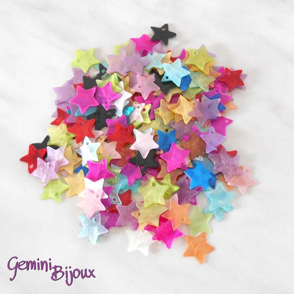 Lotto 10 zecchini pendenti stelle in madreperla 13x13 mix di colori