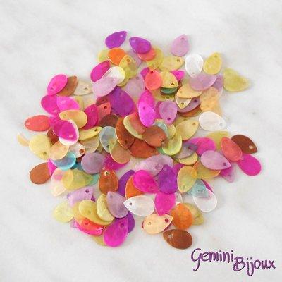 Lotto 10 zecchini pendenti goccia in madreperla 13x9 colori assortiti