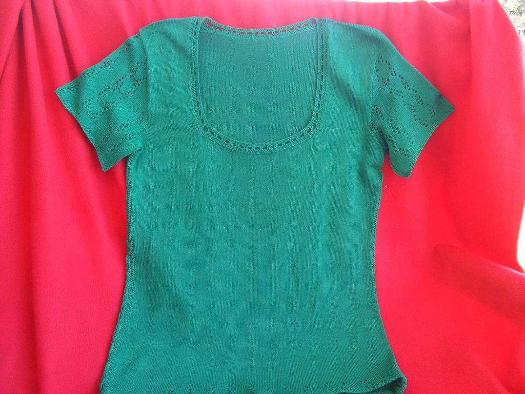 maglietta donna cotone lana maglia traforata pizzo