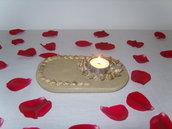 Sole di conchiglie , porta candela in gesso