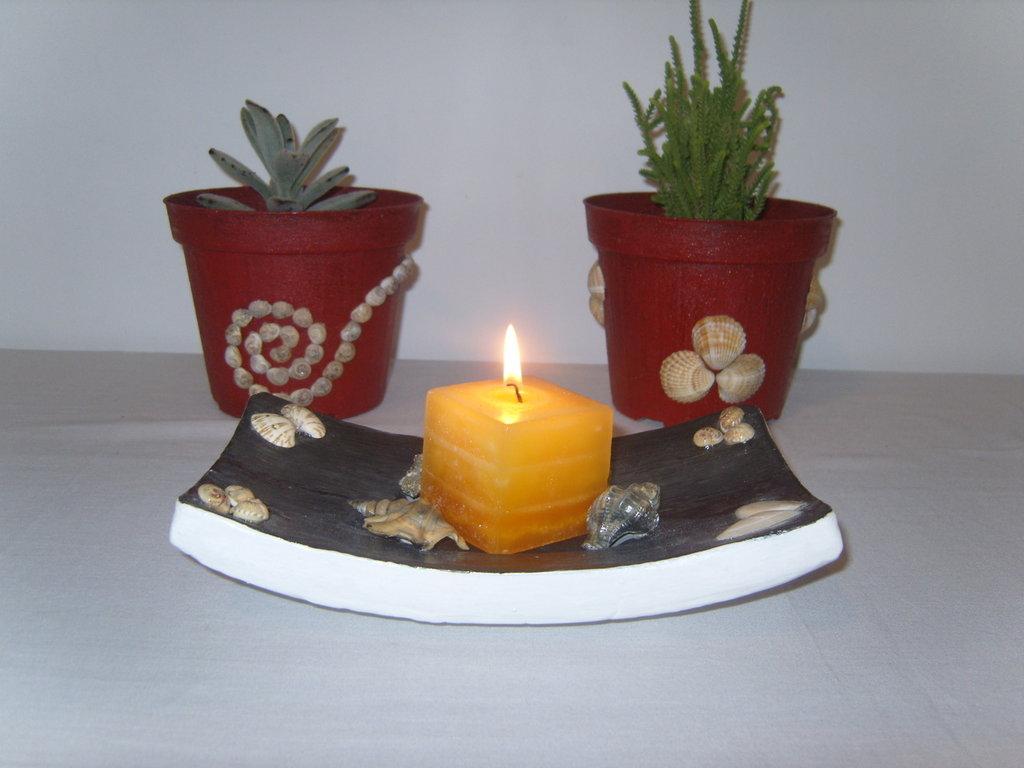 Centro tavola o porta candela motivo marino in gesso