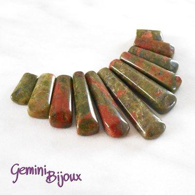 Set di pietre dure composizione per collane, unkite, mm 85x50