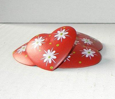 Cuoricini clip colore rosso fantasia 3,5 cm