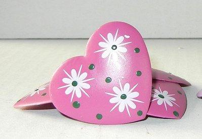 Cuoricini con clip colore fucsia e lilla fantasia 3,5 cm