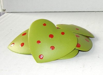 Cuoricini clip colore verde panna fantasia 3,5 cm
