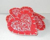 Cuori rossi grandi feltro lana con stencil cm 7 cm