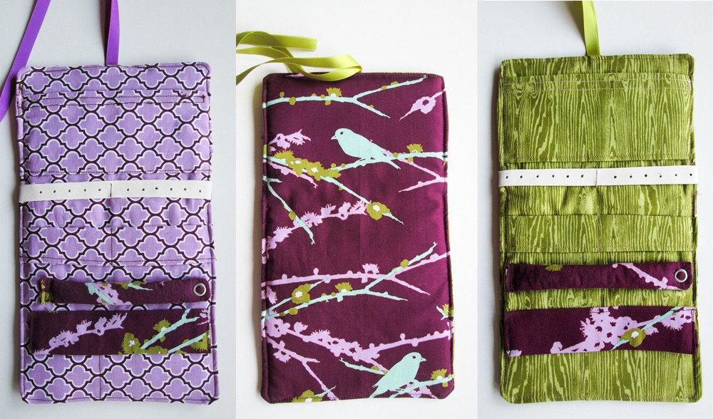 Porta gioielli da viaggio in tessuto - fantasia uccello viola arabesco viola - legno
