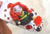 Cerchietto principessa Merida con rose in resina idea regalo Natale