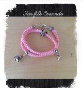 Bracciale NASCITA BIMBA in cotone rosa e charm argento