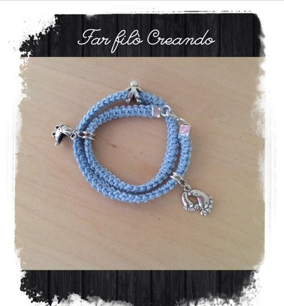 Bracciale NASCITA BIMBO in cotone azzurro e charm argento
